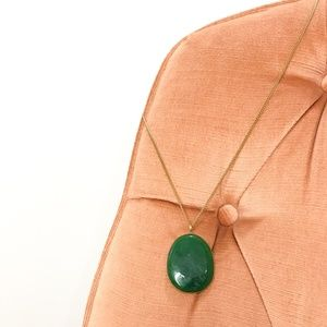 Jewelry - Boho Stone Pendant Necklace with Brass Hardware